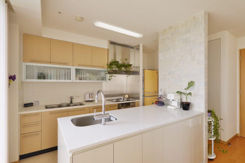 サイルストーンや塗装扉などの素材を用いて、シンプルでありながら上質感のあるキッチンです