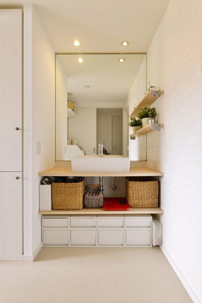 【洗面室】 シンプルがかわいい洗面台