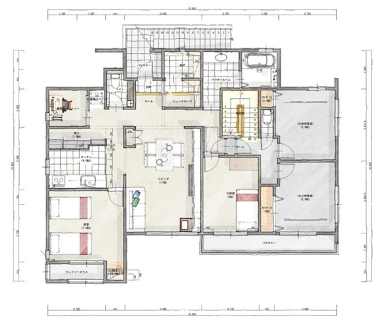 【図面のAfter】 2×4のお宅でしたが、必要な補強を掛け、理想の間取りをご提案。