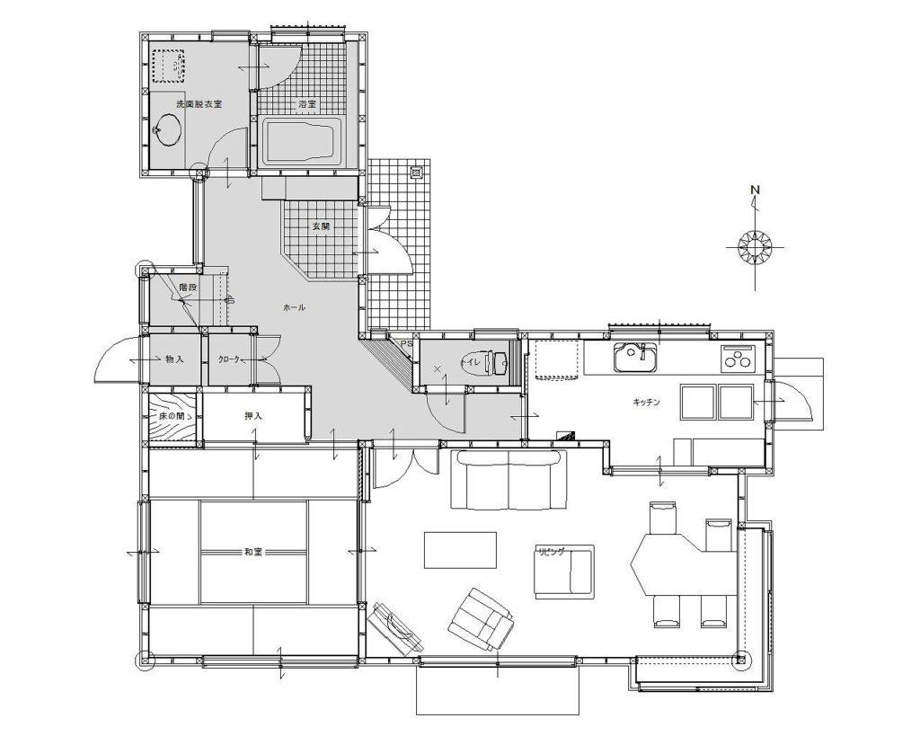 LDKを開放的に使える様、一続きに変更。工事範囲内で耐震補強工事+免震工事を行い、家の性能面にも配慮しました。また、段差解消や窓の断熱工事、床暖房施設も行い、安全性や断熱性も意識しました。
