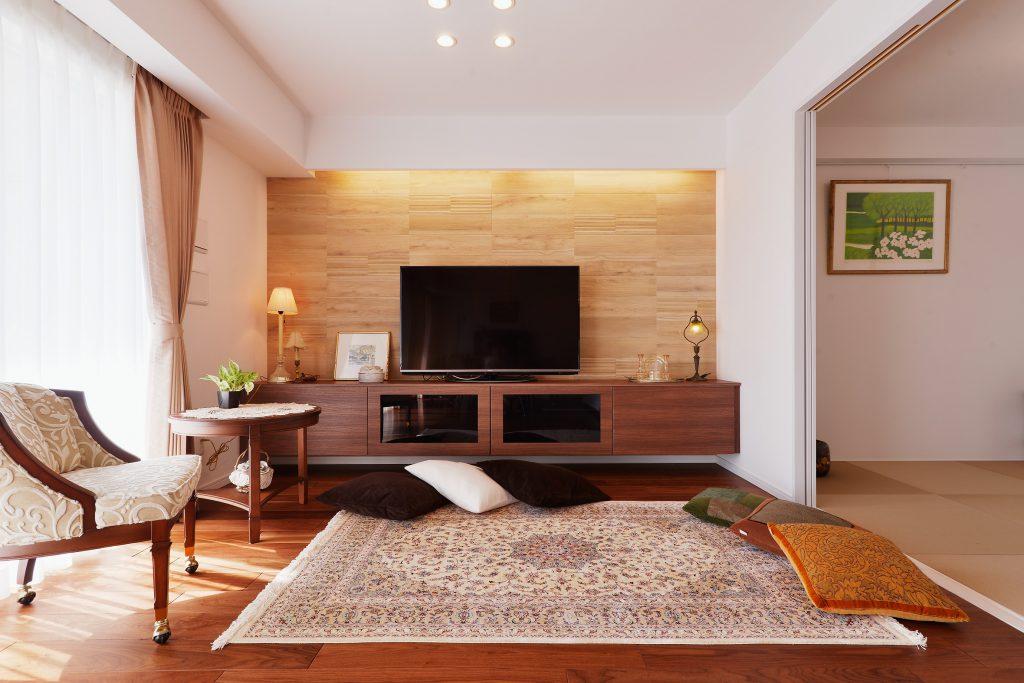 【LDK】大きな間取り変更はぜず、日々の生活が楽しくなる、大切な家具たちが引き立つための空間作りに重点を置きプランニングをしました。
