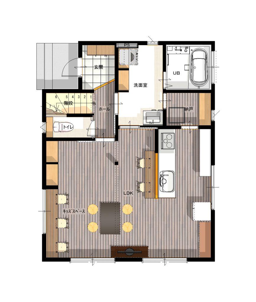 普通の建売ではまず無い洗面室の広さ、玄関から洗面室~納戸~キッチンへと続く動線。冷蔵庫のアクセスも良くなりました。子どもの成長などにともなって、家はどんどん形を変えていって良いのです。
