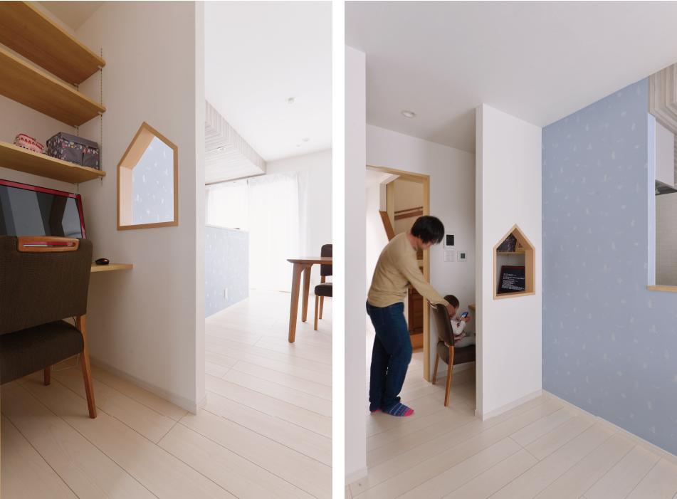 リビングの一角にワークスペースを。かわいい家型の開口が空間のつながりを感じさせ、ほどよい籠り感になりました