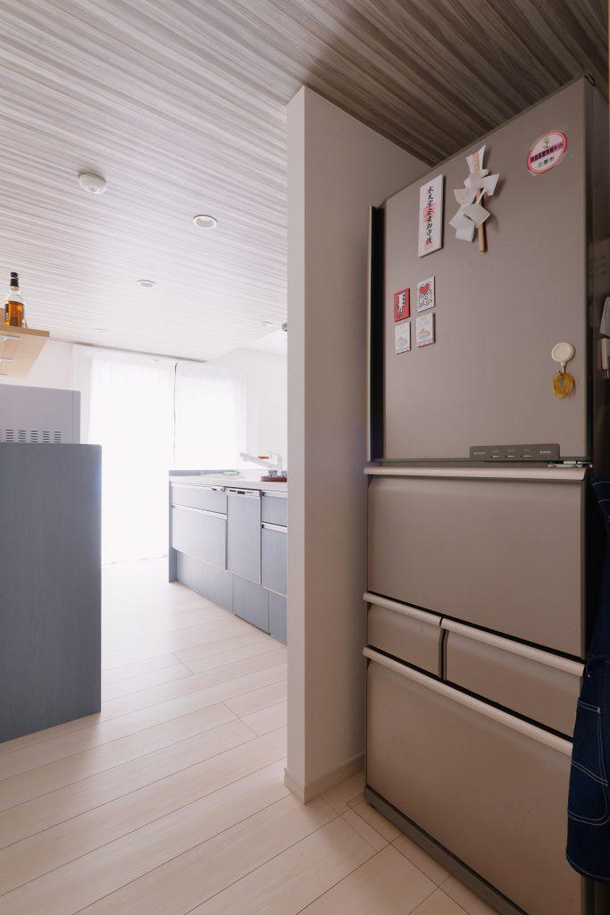 LDKは回遊できるようになっています。洗面室にすぐにアクセスできることで家事がさらにしやすく、将来はみんなでママのお手伝いもできるように。