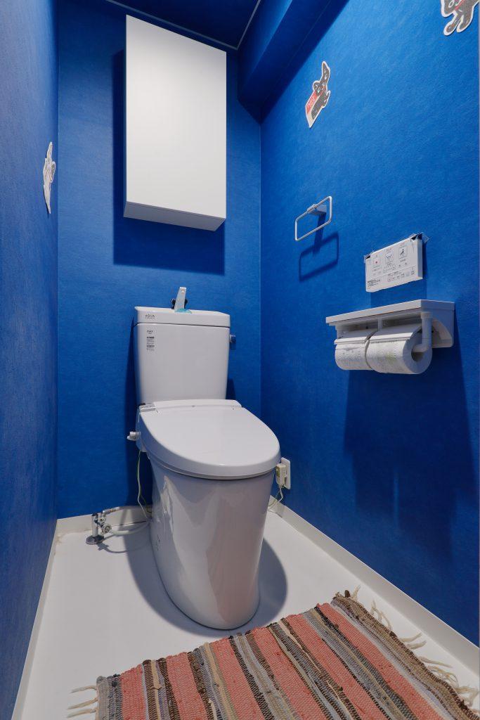 トイレ:トイレ上部にはネットで購入した吊り戸を取付。
