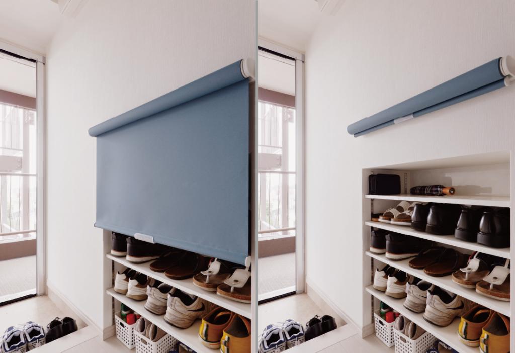 靴収納:キッチン側にカウンターを作ったことによってできたスペースを玄関側からくぼませて靴収納を作りました。壁をくぼませているのですっきり。一番大きな靴を確認して奥行を決定しました