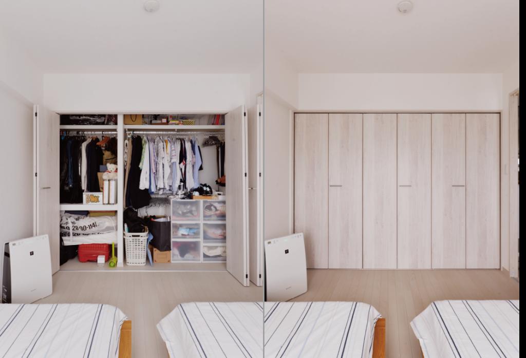 寝室収納:収納内部は使い方を相談しながらオリジナルでつくりました。