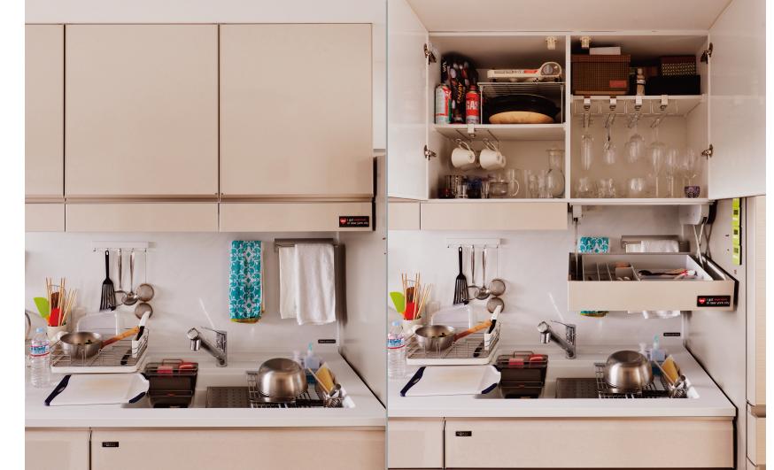 キッチン収納:レミューのアイラックを採用。たくさん人が集まるのでグラスやカトラリーが多いですがすっきり収納できます。